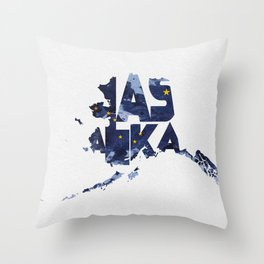 Alaska Typographic Flag Map Throw Pillow