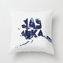 Alaska Typographic Flag Map Throw Pillow