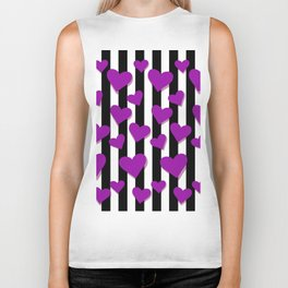 Purple Hearts pattern with vertical black lines Biker Tank