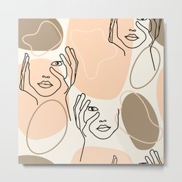 One Line Drawing Abstract Faces Seamless Pattern, Modern Bckground, Feminine Female Figures Metal Print