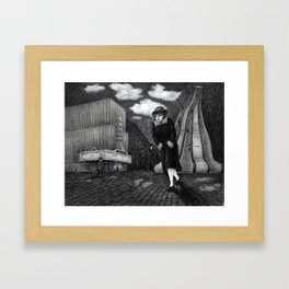 Odeon - charcoal drawing Framed Art Print