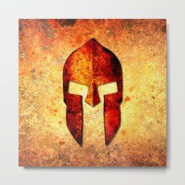Spartan Helmet On Rust Background - Molon Labe Metal Print