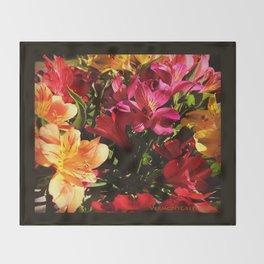 Summer Rainbow of Flower Blossoms Throw Blanket