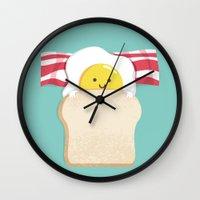 breakfast Wall Clocks featuring Morning Breakfast by Picomodi