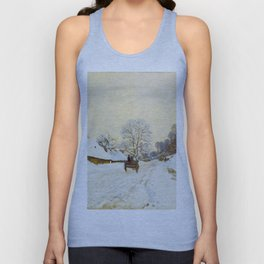 Claude Monet Impressionist Landscape Oil Painting A Cart on the Snowy Road at Honfleur Unisex Tank Top