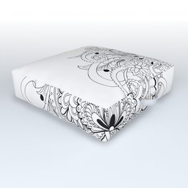 black and white zen tangled composition Outdoor Floor Cushion