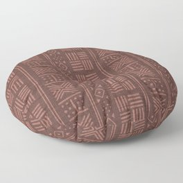 Terracotta Clay dots &  stripes on textured cloth - abstract geometric pattern Floor Pillow