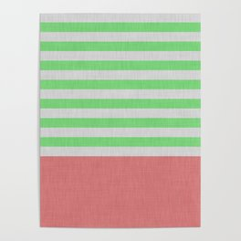 Green and orange stripes and color block Poster