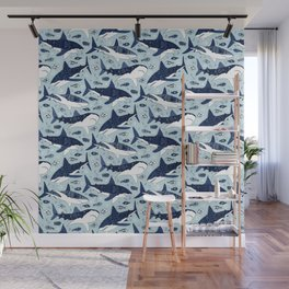 Sharks On Pale Blue Wall Mural