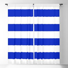 Cobalt Blue and White Wide Cabana Tent Stripe Blackout Curtain