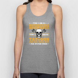 Motorcycle Mechanic And Tattoos Unisex Tank Top