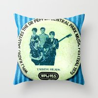 talking heads Throw Pillows featuring Central Park talking heads 1979 by Del Gaizo