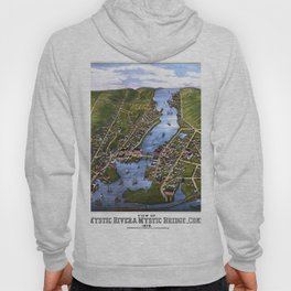 MYSTIC RIVER CONNECTICUT city old map Father Day art print Hoody