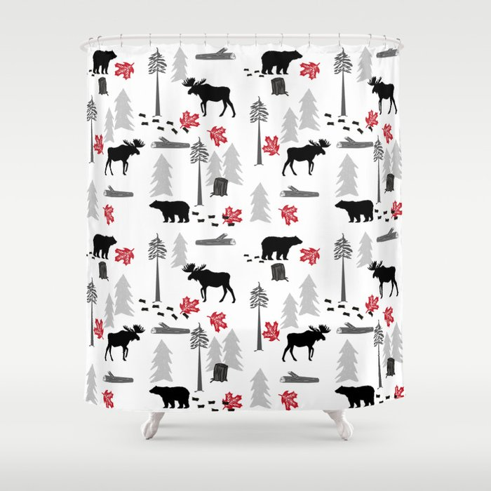 Camping Woodland Forest Nature Moose Bear Pattern Nursery Gifts Shower Curtain