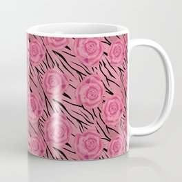 Pink floral pattern on a tiger background . Coffee Mug