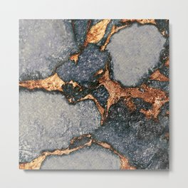 GEMSTONE GREY & GOLD Metal Print