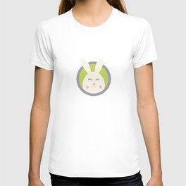 Cute rabbit head with blue circle T-shirt
