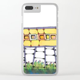 Funky yellow architectural design 51 Clear iPhone Case