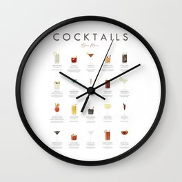 Cocktail Chart - Bar Menu Wall Clock