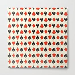 Spade, club, diamond, heart - vintage cards illustration pattern Metal Print
