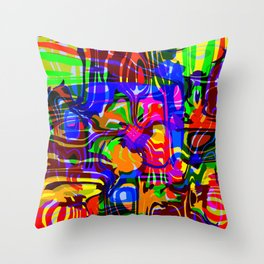 Explosive smudges of mysterious infinity from gold lines and a blue square cycle. Throw Pillow