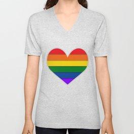 LGBTQ+ Heart-shaped Flag Unisex V-Neck