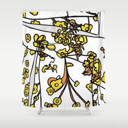 Golden Petals on Branches Shower Curtain