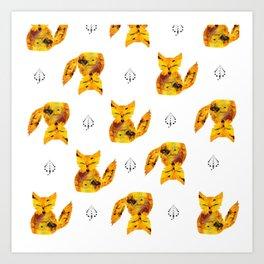 Pressed Flower Fox Print Art Print