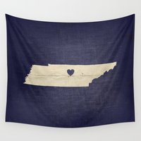 tennessee Wall Tapestries featuring Nashville, Tennessee by Fercute