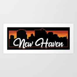 Vintage New Haven Connecticut Sunset Skyline T-Shirt Art Print