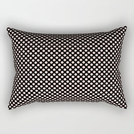 Black and Pale Dogwood Polka Dots Rectangular Pillow