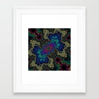 novelty Framed Art Prints featuring Peacock Fractal by Moody Muse
