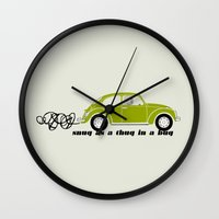volkswagon Wall Clocks featuring Snug as a Thug in a Bug (green) by The Wallpaper Files