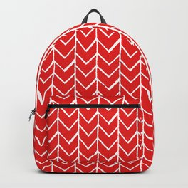 Herringbone Red Backpack