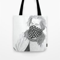 shaun of the dead Tote Bags featuring Shaun White by Moira Sweeney