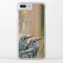 Pair of Anna's Hummingbird Fledglings Clear iPhone Case