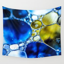 Yellow spotted blue Wall Tapestry