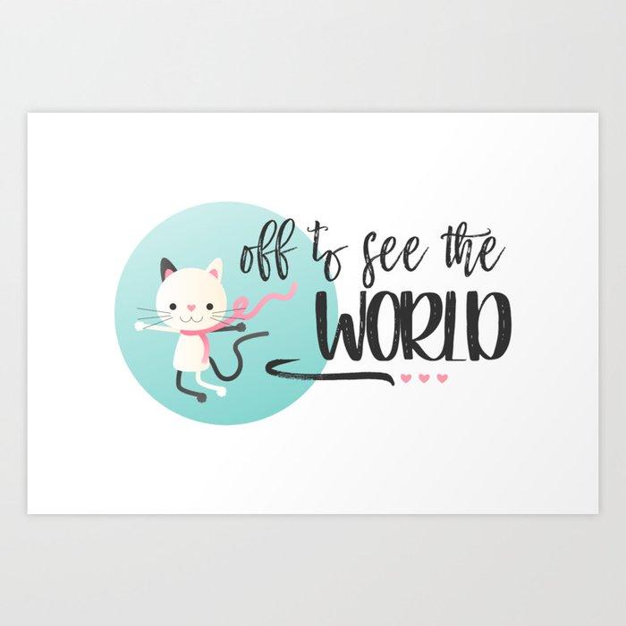 Traveling Kitty Art Print