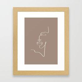 Abstract one line art face print. Framed Art Print