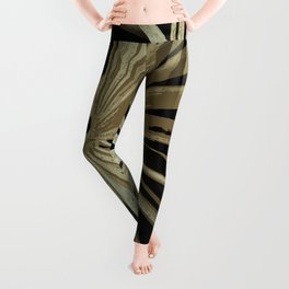 Brown On Black Tropical Vibes Beach Palmtree Vector Leggings