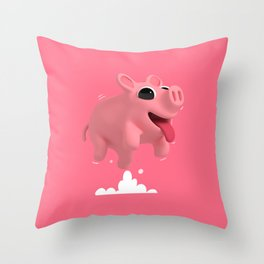 Rosa the Pig Jumps Throw Pillow