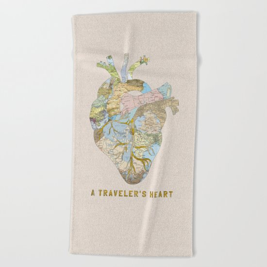 A Traveler's Heart Beach Towel
