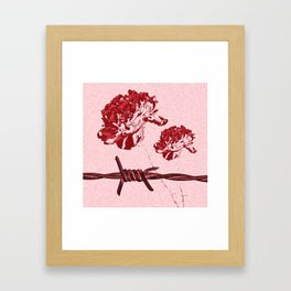 Barbed Wire Peony Print Framed Art Print