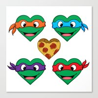 ninja turtle Canvas Prints featuring Ninja Turtle Hearts by Sam Skyler