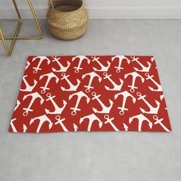 Maritime Nautical Red and White Anchor Pattern - Anchors Rug