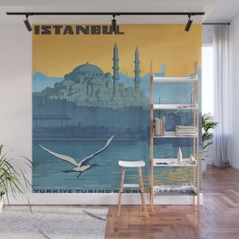 Mid Century Modern Travel Vintage Poster Istanbul Turkey Grand Mosque Wall Mural