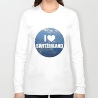 switzerland Long Sleeve T-shirts featuring I Love Switzerland by Caroline Fogaça