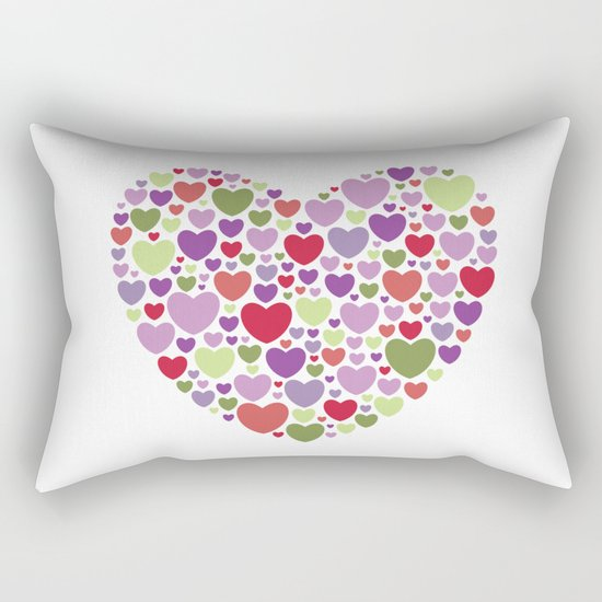 Colourful Hearts Rectangular Pillow