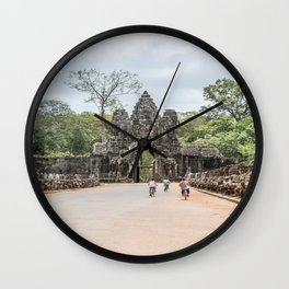 Angkor Thom South Gate with Tourists on Bikes, Cambodia Wall Clock