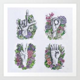 LOVE ASL Art- square version Art Print